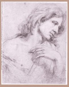 Kop, schouders en hand van een jongeman