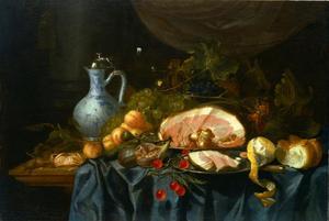 Stilleven met ham, krab en vruchten