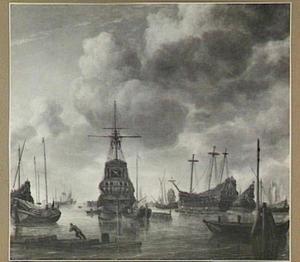 Schepen in het Oosterdok te Amsterdam