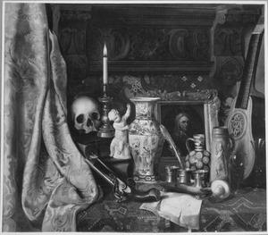 Vanitasstilleven met schedel en pistool