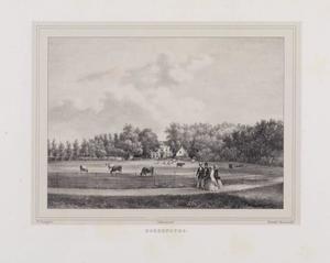 Weidelandschap met koeien en doorkijk naar de hofstede Hoekenburg
