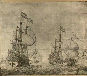 Twee Hollandse fregatten en andere schepen op volle zee