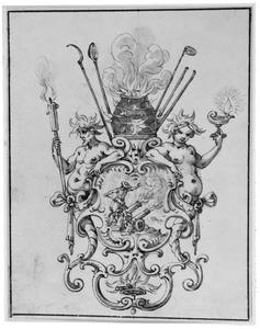 Ontwerp voor ornament met kanonnen en vuur