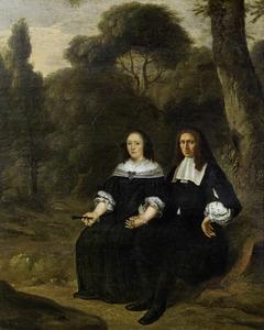 Portret van een echtbaar zittend in een bosachtig landschap