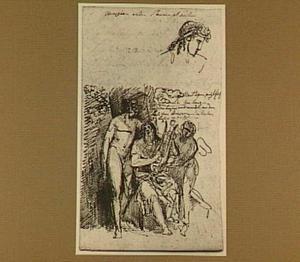 De Griekse dichter Anacreon van Teos, gezeten tussen Amor en Bacchus