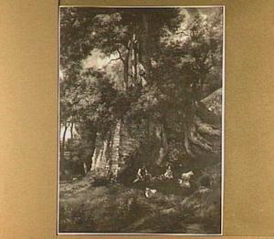 Herder bij een ruïne in een bos