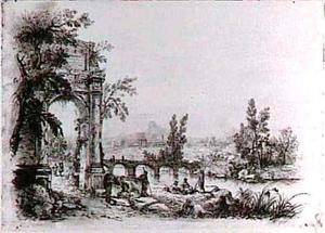 Italianiserend rivierlandschap met figuren