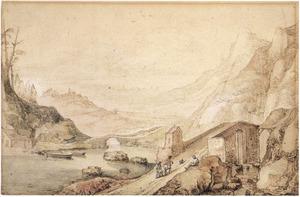 Berglandschap met rivier en bruggen