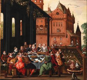 Vrolijk gezelschap aan tafel