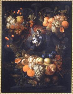 Vruchten rond een stenen cartouche met daarin een voorstelling van Maria met Christus