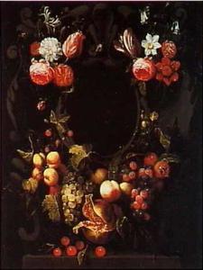 Vruchten en bloemtrossen rond een ornamentale nis