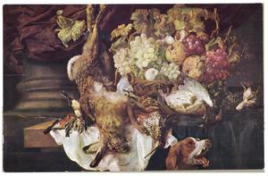 Stilleven met haas, gevogelte en vruchten; rechts een hond en een kat