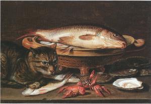 Visstilleven met oesters, rivierkreeften en een kat