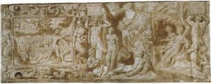 Fries met links de Val der Giganten en rechts Diana die de zwangerschap can Callisto ontdekt
