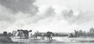 Drenkend vee in een rivierlandschap, boeren leggen een vuurtje aan