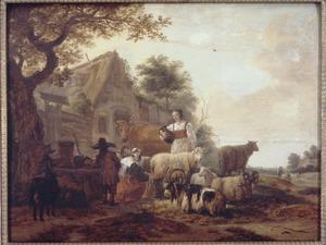 Landschap met melkende vrouwen voor een boerderij