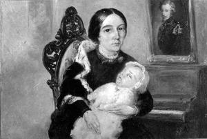 Dubbelportret van Jeanette Op ten Noort (1821-1911) en Menno Hugues Philippe Aymery Raoul de Girard de Mielet van Coehoorn (1853-1911)