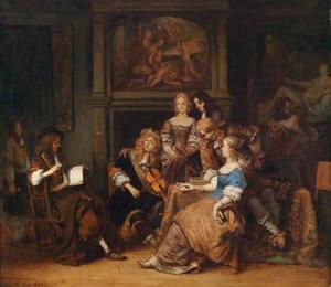 Musicerend gezelschap in een rijk interieur