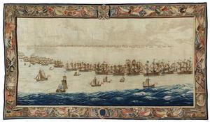 De vloot opgesteld voor de strijd bij de Slag van Solebay, 1672