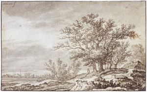Duinlandschap met groep bomen en een boerderij