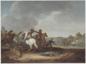 Ruitergevecht in een landschap