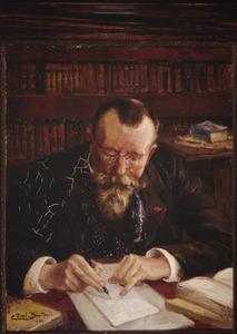 Mogelijk een portret van Prof. Dr. Hector Treub in zijn studeerkamer