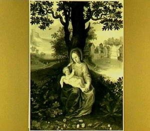 Maria met kind in landschap met bebouwing in achtergrond