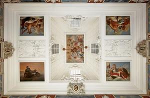 De vier werelddelen. Plafonddecoratie voor de Audiëntiezaal op Frederiksborg