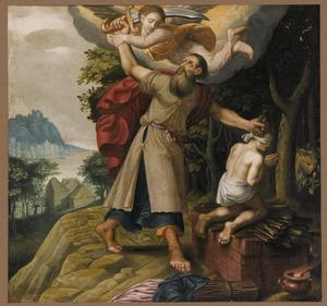 De engel weerhoudt Abraham om Isaak te offeren (Genesis 22:11-130