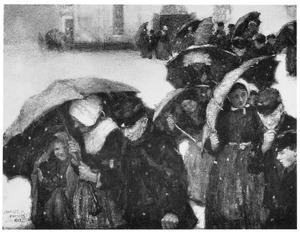 Boeren die in de stromende regen de kerk verlaten