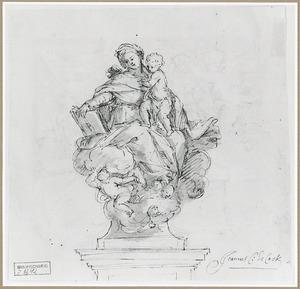 Maria met kind zittend op wolken