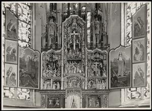 Christus in Gethsemane (binnenzijde linkerluik); De annunciatie, de visitatie, de Boom van Jesse, de aanbidding der herders, de besnijdenis, de kruisdraging, de kruisiging, de kruisafneming (middendeel); De opstanding (binnenzijde rechterluik)