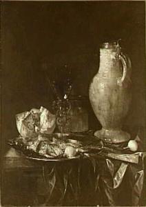 Stilleven met haring, brood en uien, kan van steengoed en
