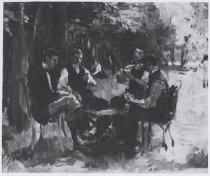 Kaartspelers in het Bois de Boulogne, Parijs