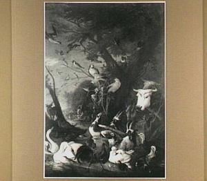 Het paradijs; op de achtergrond de zondeval (Genesis 2)