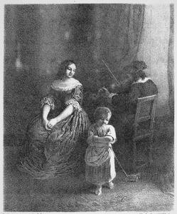Familietafereel met vioolspelende man
