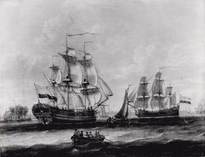 Het schip 'Juffrouw Jansje' op het IJ ter hoogte van het Tolhuis