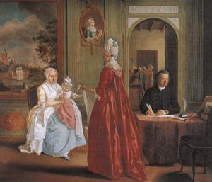Portret van Hermijna Tack (1746-1779) en haar dochter, Jacoba Clemens (?-1793) en Jan Broesterhuijsen (?-1789)
