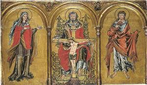 Maria op Genadetroon (midden), apostelen (links en rechts)