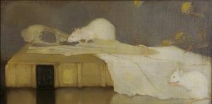 Witte muizen op perkamenten boekband