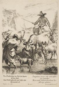 Italianiserend landschap met een herdersfamilie en hun kudde bij een doorwaadbare plaats