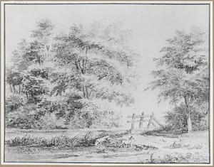 Landschap met schapen en een houten hek