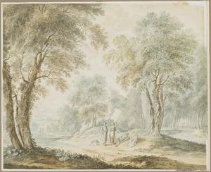 Boslandschap met vier figuren