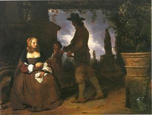 Paar in een tuin met een jongen