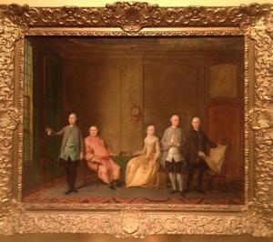 Portret van Jacob Ploos van Amstel (1693-1759), Johanna Clementia Ploos van Amstel (?-1777) en hun zoons
