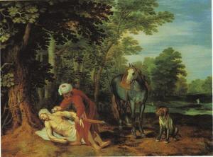 Boslandschap met de barmhartige Samaritaan (Lucas 10: 30-37)