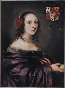 Portret van een vrouw met een vrucht in de uitgestoken rechterhand
