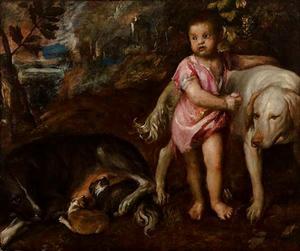 Een jongen met honden in een landschap