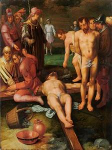 Christus wordt aan het kruis genageld (Mattheus 27:35)