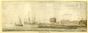 Gezicht op Delfshaven vanuit het oosten, met in de verte de stad Schiedam
